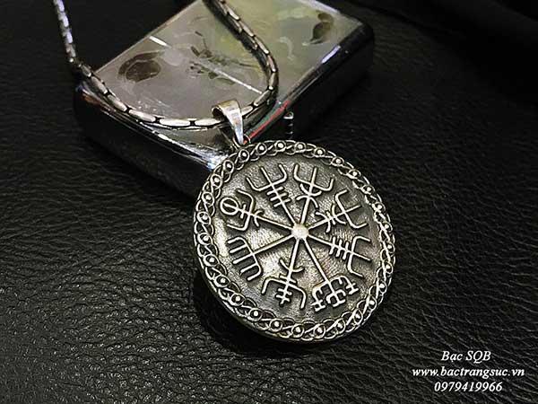 Mặt dây chuyền bạc nam Thái Lan biểu tượng đồng tiền Amulet