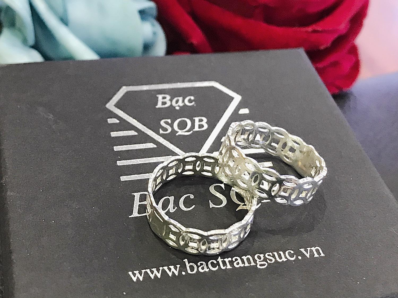 Nhẫn bạc Kim tiền bản to bạc Việt Nam cao cấp
