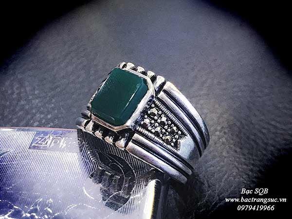 Nhẫn bạc Thái nam đá agate  tự nhiên mặt vuông cá tính