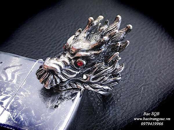 Nhẫn bạc nam Thái đầu rồng quyền lực