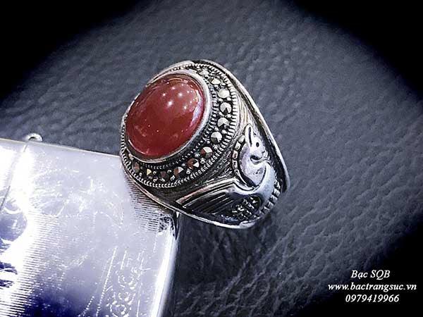 Nhẫn bạc nam Thái lan đá đỏ agate sang trọng