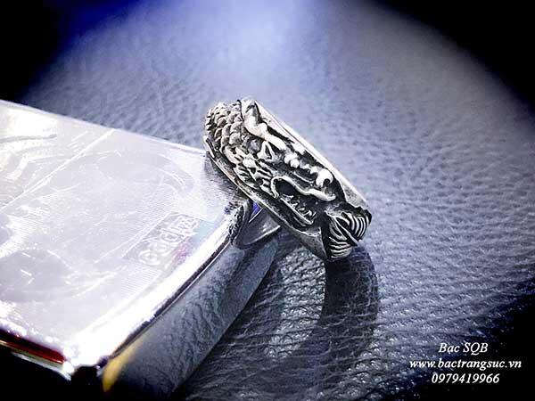 Nhẫn bạc nam Thái hình rồng khắc trên thân RI-2936 (OFF10%)