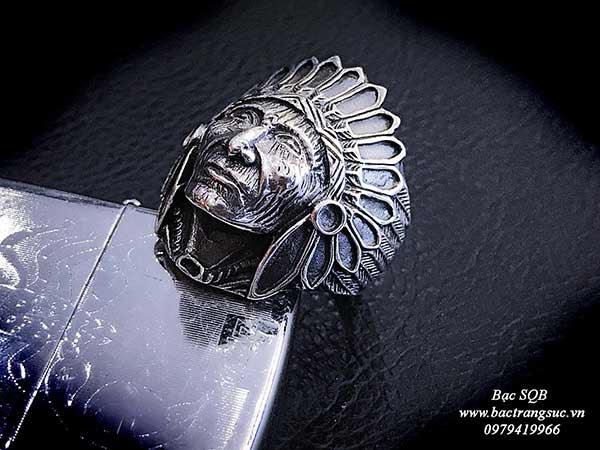 Nhẫn bạc nam Thái lan hình mặt thổ dân phong cách cá tính