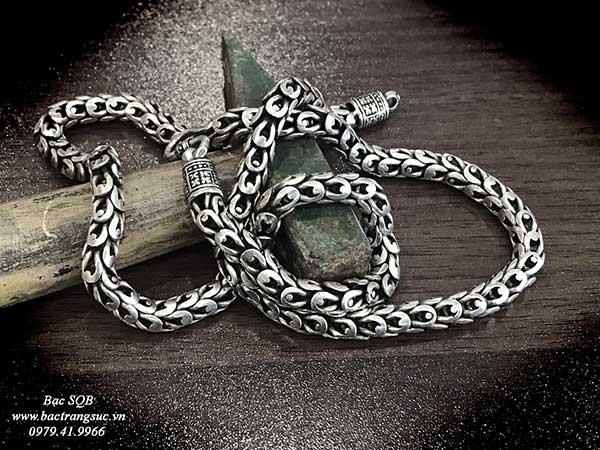 Dây chuyền bạc nam Thái Lan vẩy rồng siêu đẹp