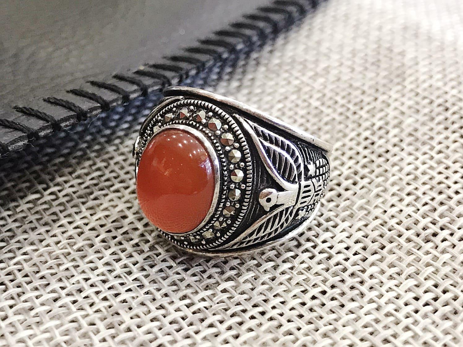 Nhẫn bạc Thái nam đá agate đỏ cao cấp