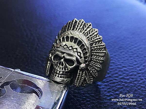 Nhẫn bạc nam Thái lan hình thổ dân cực phong cách  (OFF30%)