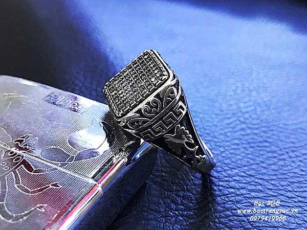 Nhẫn bạc nam  đính đá Thái Lan cao cấp (OFF50%)