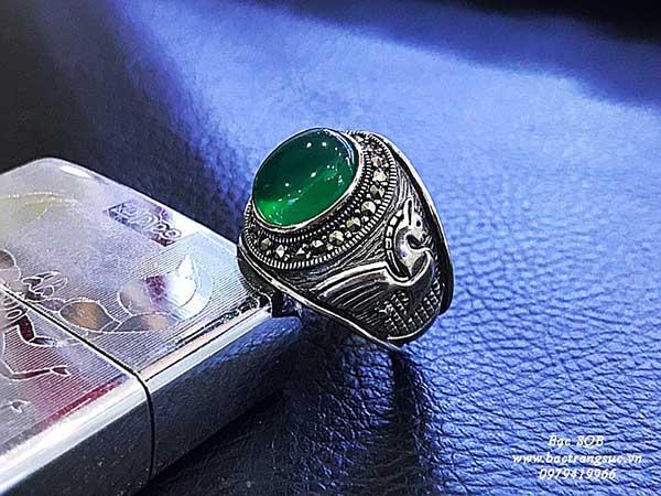 Nhẫn bạc nam Thái Lan đính đá agate tự nhiên
