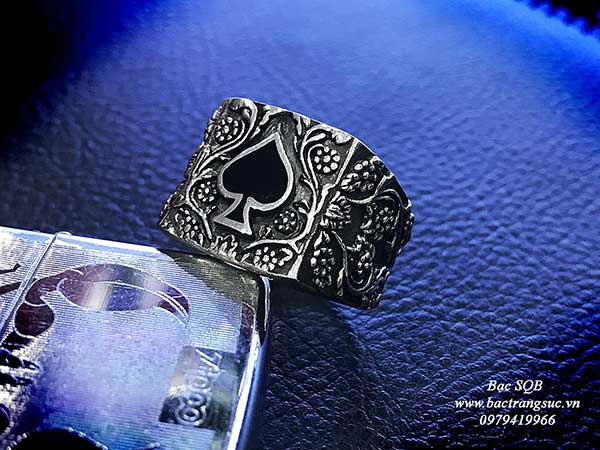 Nhẫn bạc nam Thái Lan hình Át bich tâm linh huyền bí