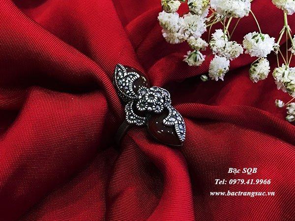 Nhẫn bạc nữ đá đỏ phong thủy  RI-143