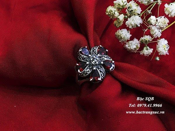 Nhẫn bạc nữ đá đỏ phong thủy  RI-1515