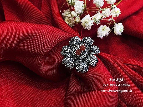 Nhẫn bạc nữ đá đỏ phong thủy  RI-2341