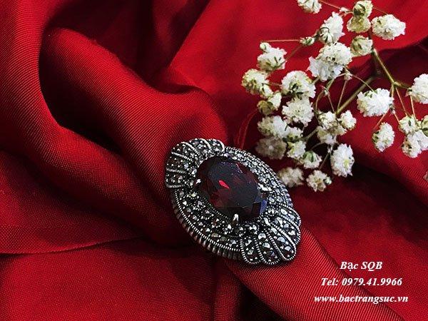 Nhẫn bạc nữ đá đỏ phong thủy  RI-2721