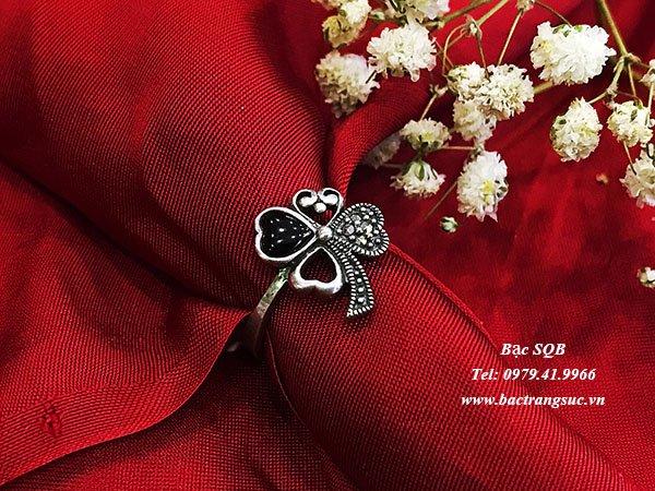 Nhẫn bạc nữ đá đen phong thủy  RI-3095