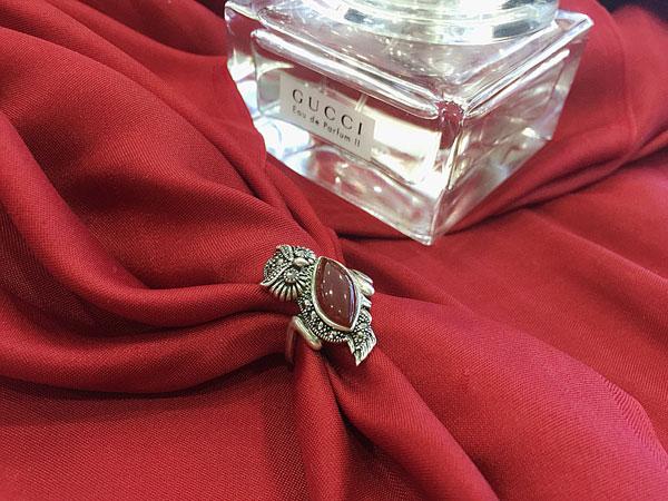 Nhẫn bạc hình cú mèo đính đá đỏ Thái Lan